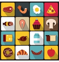 Food icons set flat style vector