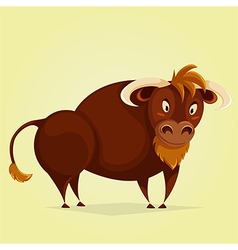 Funny bull cartoon character vector