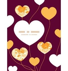 Golden art flowers heart symbol frame pattern vector