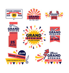 Grand opening ribbon band icons for vector
