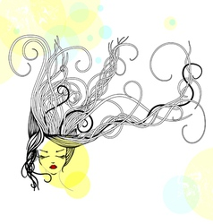 hand-drawn womans face vector image