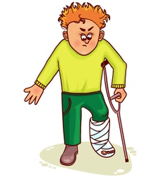 Ill little man with broken leg vector image