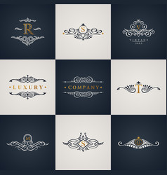 luxury logo monogram set vintage royal flourishes vector image