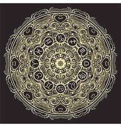 mandala and zodiac circle with horoscope signs vector image vector image