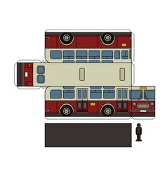 paper model of a vintage city bus vector image vector image