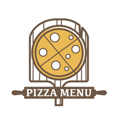 Pizza menu emblem with wooden board and rolling vector