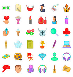 popcorn icons set cartoon style vector image