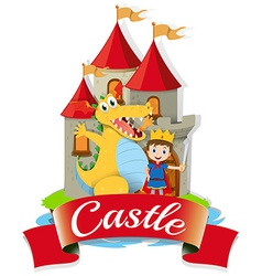 Prince and dragon at the castle vector image