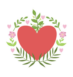 Red hart framed with plants and flowers vector