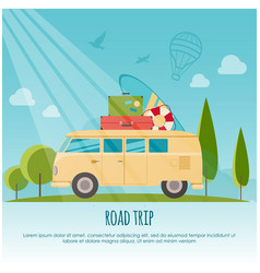 Road trip surf camp concept banner flat style vector