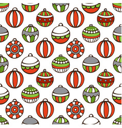 Seamless pattern of christmas baubles vector