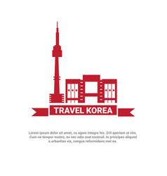 seoul landmark buildings icon travel to korea vector image