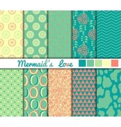 Set of 10 simple seamless patterns Mermaids Love vector image vector image