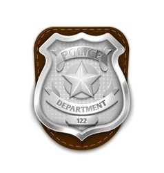 Silver steel police security badge isolated on vector