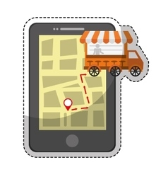 Smartphone with truck icon vector