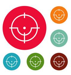 sniper icons circle set vector image