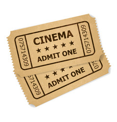 Two retro cinema tickets of designer on a white vector