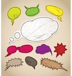 Vintage scratched speech bubbles clip-art vector image vector image