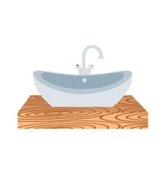 Washbasin bathroom cartoon flat vector image vector image
