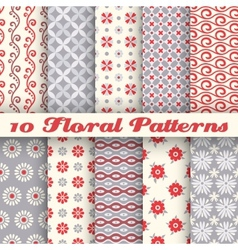 10 floral fashionable seamless patterns tiling vector