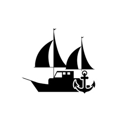 Sail boat and anchor icon vector