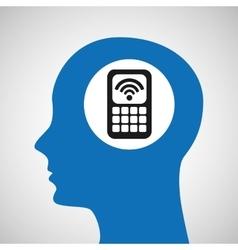 Silhouette head cellphone wifi icon vector