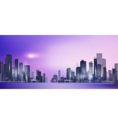 Modern night city skyline in moonlight vector image