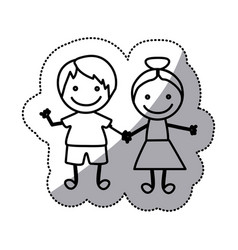 hand drawn sticker silhouette couple of children vector image