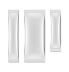 White blank sachet packaging stick pack vector