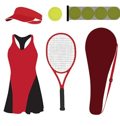 Tennis set six items vector