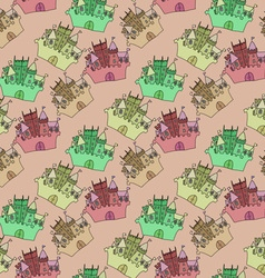 Castle seamless pattern flag fortress vector