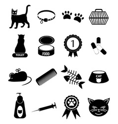 Pet cat icons set vector