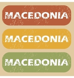 Vintage macedonia stamp set vector