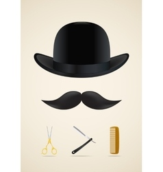 Moustache style icons set vector