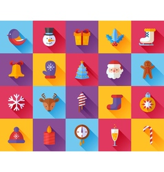 Flat Christmas and New Year icons set vector image