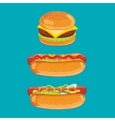 Cheeseburger and hot dog isolated vector