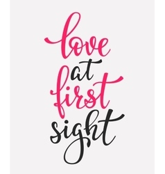 Love at first sight typography quote vector