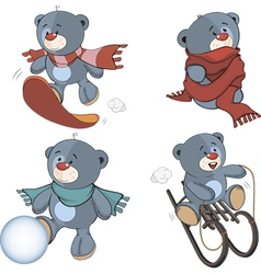 A set of stuffed bear toys cartoon vector