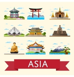Asian travel set with famous attractions vector
