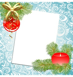 ball and candle christmas postcard vector image vector image