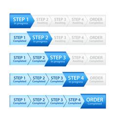 Blue progress bar for order process vector