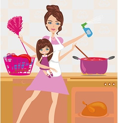 Busy young mother simultaneously doing many tasks vector