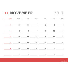 calendar planner 2017 november week starts sunday vector image