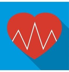 Cardiogram heart icon flat style vector