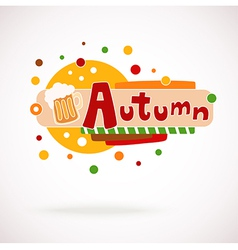 Colorful word autumn with mug of beer vector