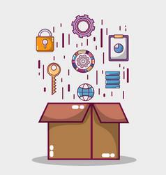 data server network center technology vector image