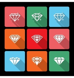 Diamond Icons Set with Long Shadow vector image