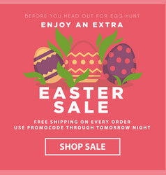 easter sale conceptual banner nest with decorated vector image vector image