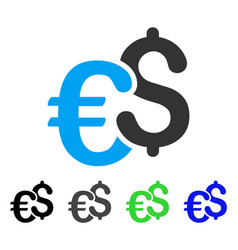 Euro and dollar currency flat icon vector