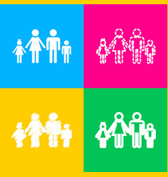 family sign four styles of icon on vector image